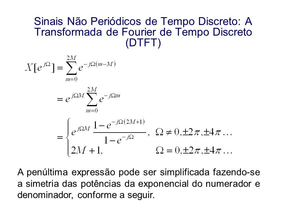 Sinais Não Periódicos de Tempo Discreto: A Transformada de Fourier de Tempo Discreto (DTFT) A penúltima expressão pode ser simplificada fazendo-se a s