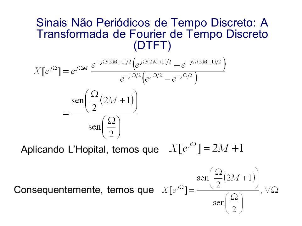 Sinais Não Periódicos de Tempo Discreto: A Transformada de Fourier de Tempo Discreto (DTFT) Aplicando LHopital, temos que Consequentemente, temos que