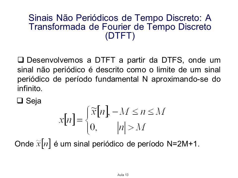 Aula 13 Sinais Não Periódicos de Tempo Discreto: A Transformada de Fourier de Tempo Discreto (DTFT) Desenvolvemos a DTFT a partir da DTFS, onde um sin