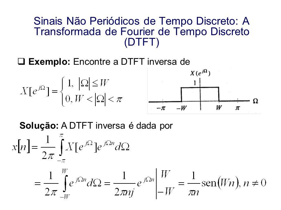 Exemplo: Encontre a DTFT inversa de Solução: A DTFT inversa é dada por