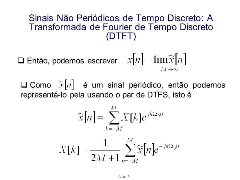 Aula 13 Sinais Não Periódicos de Tempo Discreto: A Transformada de Fourier de Tempo Discreto (DTFT) Então, podemos escrever Como é um sinal periódico,