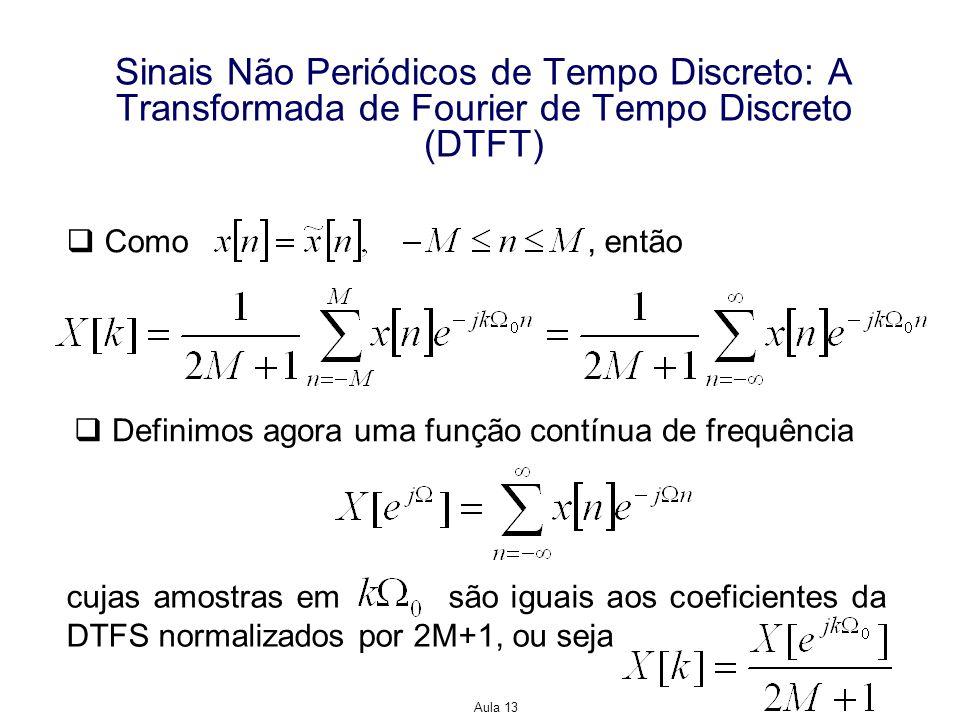 Aula 13 Sinais Não Periódicos de Tempo Discreto: A Transformada de Fourier de Tempo Discreto (DTFT) Como, então Definimos agora uma função contínua de