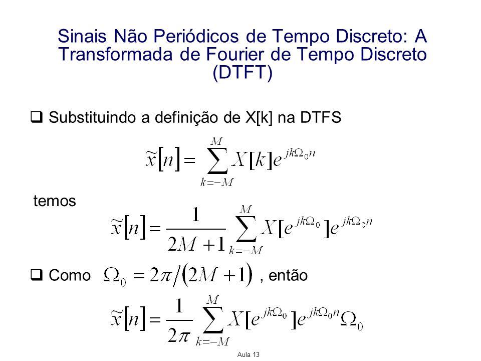 Aula 13 Sinais Não Periódicos de Tempo Discreto: A Transformada de Fourier de Tempo Discreto (DTFT) Substituindo a definição de X[k] na DTFS temos Com