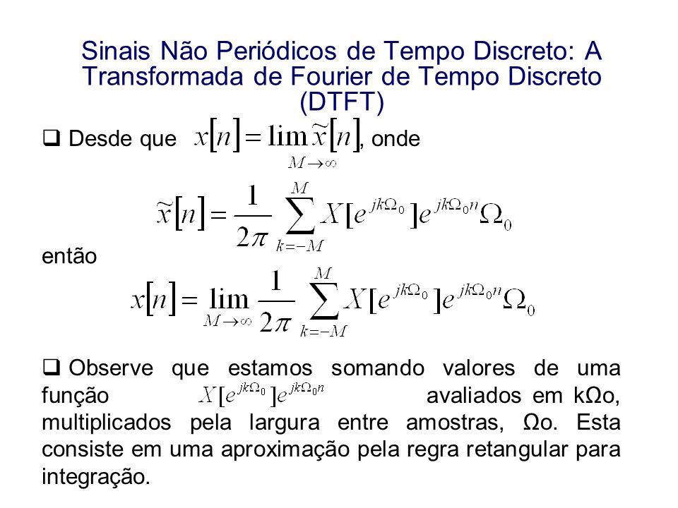 Sinais Não Periódicos de Tempo Discreto: A Transformada de Fourier de Tempo Discreto (DTFT) Desde que, onde então Observe que estamos somando valores