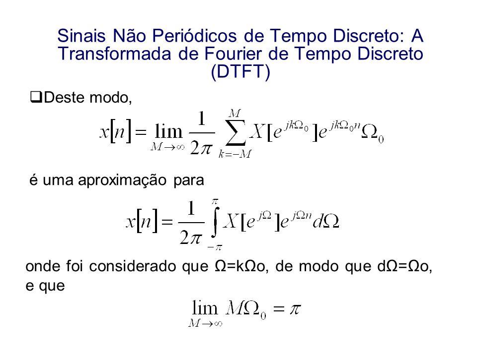 Sinais Não Periódicos de Tempo Discreto: A Transformada de Fourier de Tempo Discreto (DTFT) Deste modo, é uma aproximação para onde foi considerado qu
