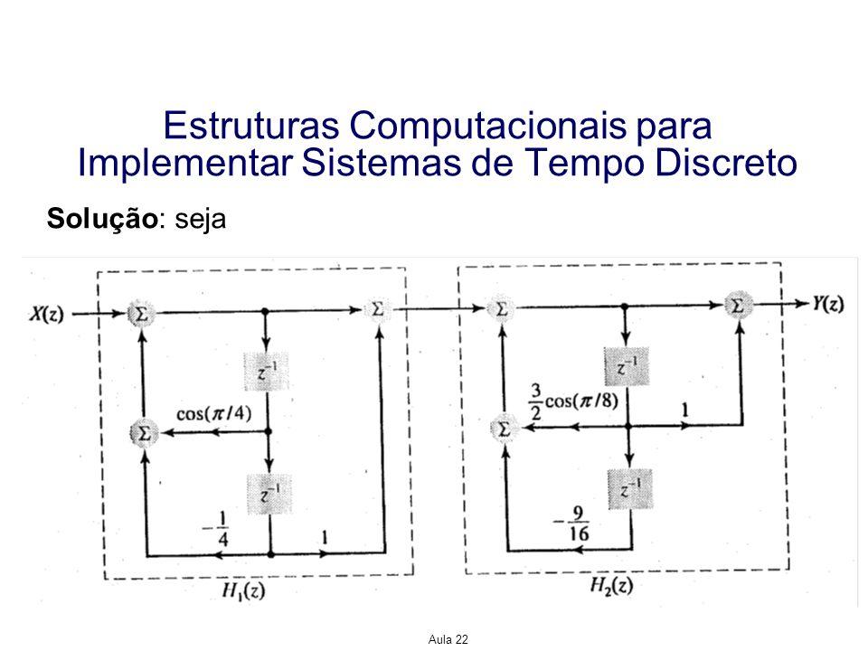 Aula 22 Estruturas Computacionais para Implementar Sistemas de Tempo Discreto Solução: seja