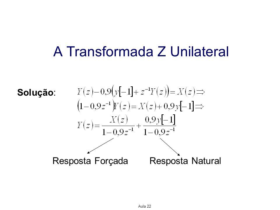Aula 22 A Transformada Z Unilateral Solução: Resposta NaturalResposta Forçada