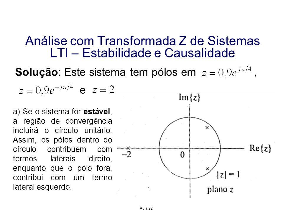 Aula 22 Análise com Transformada Z de Sistemas LTI – Estabilidade e Causalidade Solução: Logo, b) Se o sistema for causal, então todos os pólos contribuirão com termos laterais direito, de modo que Portanto, este sistema não pode ser nem estável e nem causal, pois possui um pólo fora do círculo unitário.