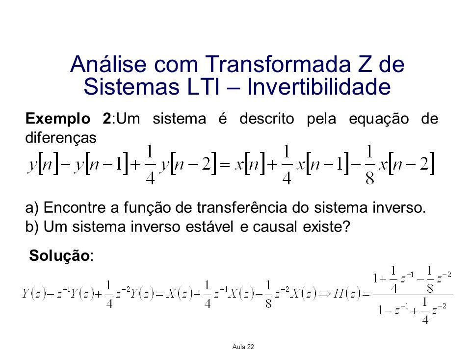 Aula 22 Estruturas Computacionais para Implementar Sistemas de Tempo Discretos Obtendo as raízes dos polinômios do numerador e denominador de H(z), podemos expressar a função de transferência como de modo que Observe que os pólos do sistema inverso, ¼ e -1/2, estão dentro do círculo unitário, de modo que o sistema inverso pode ser tanto causal quanto estável.