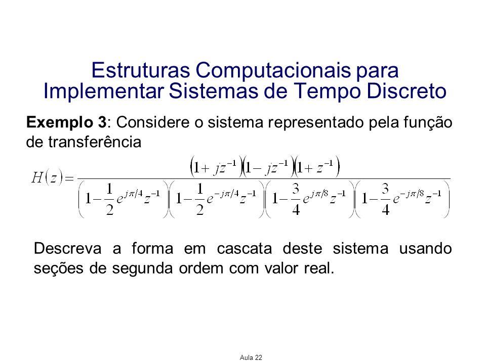 Aula 22 Estruturas Computacionais para Implementar Sistemas de Tempo Discreto Exemplo 3: Considere o sistema representado pela função de transferência