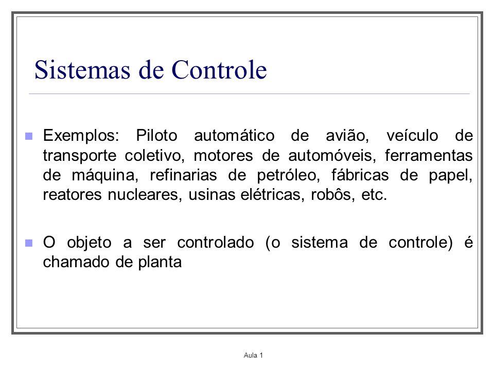 Aula 1 Sistemas de Controle Exemplos: Piloto automático de avião, veículo de transporte coletivo, motores de automóveis, ferramentas de máquina, refin