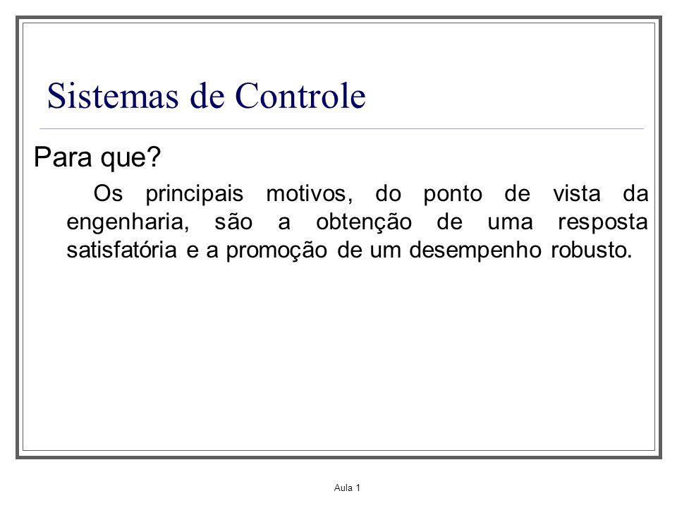 Aula 1 Sistemas de Controle Para que? Os principais motivos, do ponto de vista da engenharia, são a obtenção de uma resposta satisfatória e a promoção