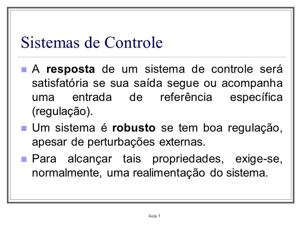Aula 1 Sistemas de Controle A resposta de um sistema de controle será satisfatória se sua saída segue ou acompanha uma entrada de referência específic