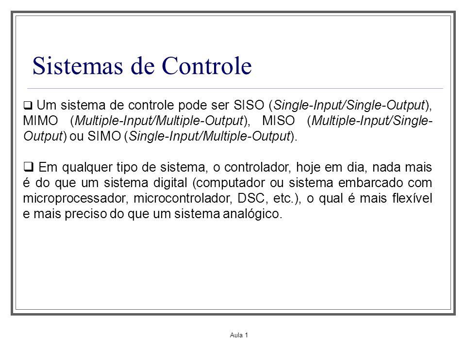 Aula 1 Sistemas de Controle Um sistema de controle pode ser SISO (Single-Input/Single-Output), MIMO (Multiple-Input/Multiple-Output), MISO (Multiple-I