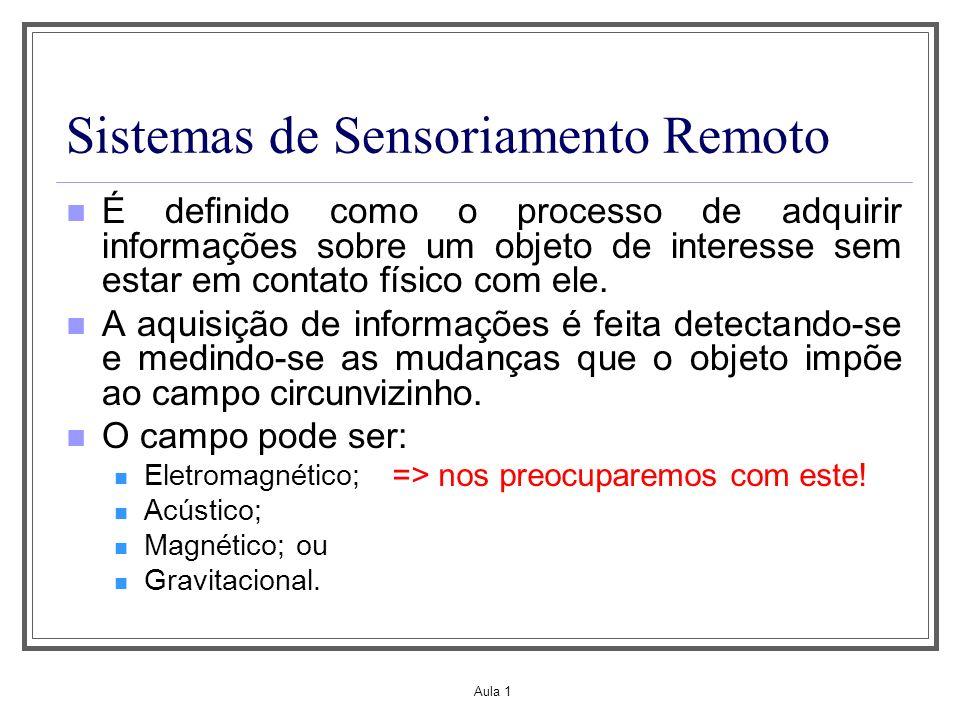 Aula 1 Sistemas de Sensoriamento Remoto É definido como o processo de adquirir informações sobre um objeto de interesse sem estar em contato físico co