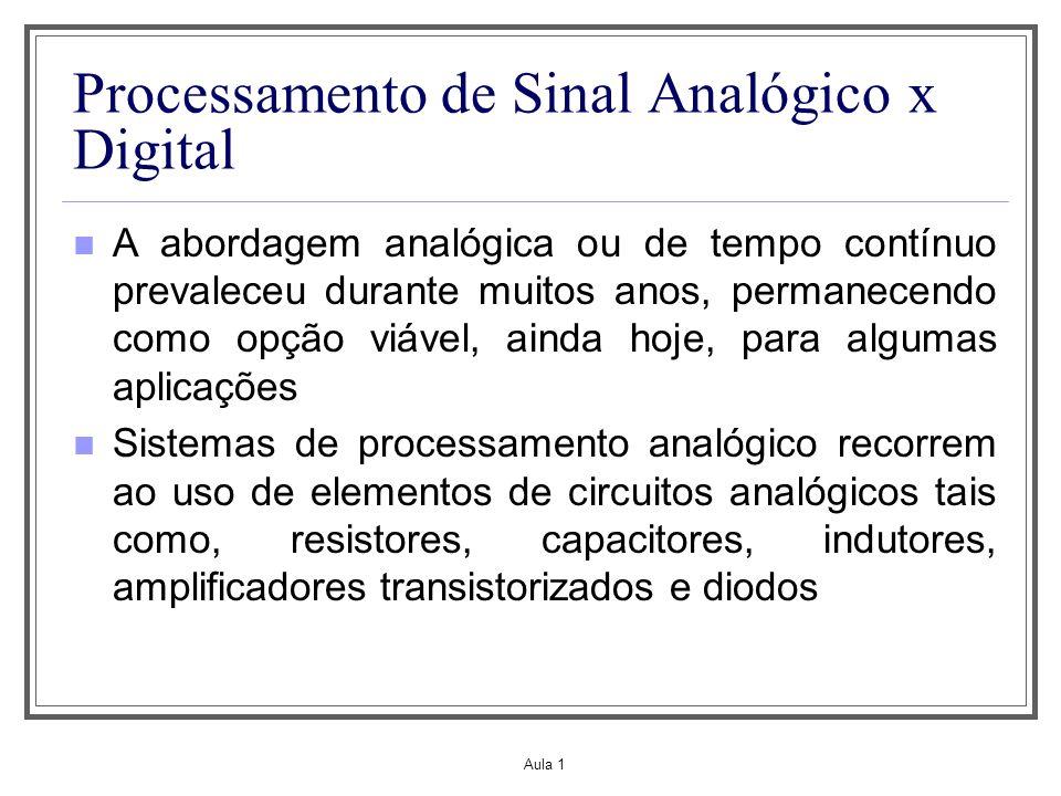 Aula 1 Processamento de Sinal Analógico x Digital A abordagem analógica ou de tempo contínuo prevaleceu durante muitos anos, permanecendo como opção v