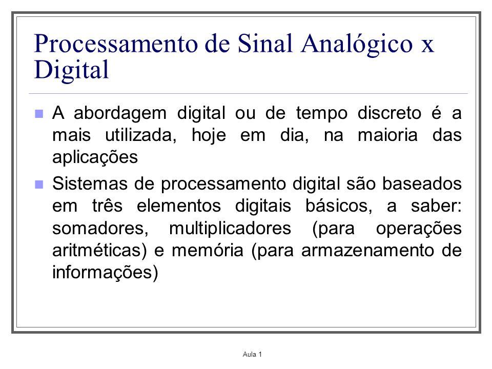 Aula 1 Processamento de Sinal Analógico x Digital A abordagem digital ou de tempo discreto é a mais utilizada, hoje em dia, na maioria das aplicações