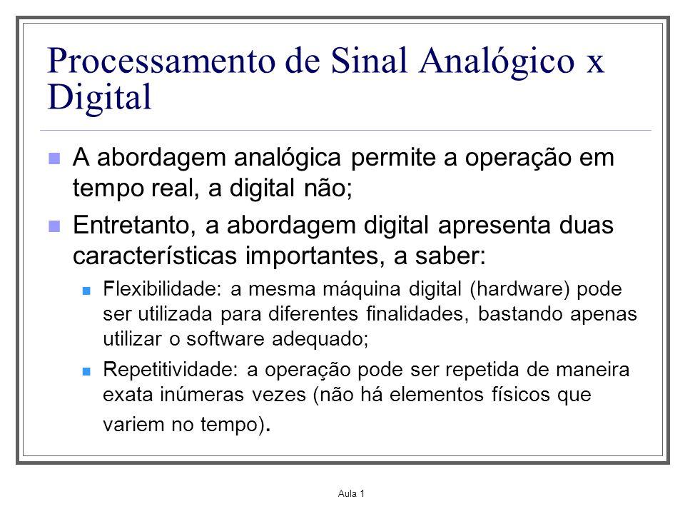 Aula 1 Processamento de Sinal Analógico x Digital A abordagem analógica permite a operação em tempo real, a digital não; Entretanto, a abordagem digit