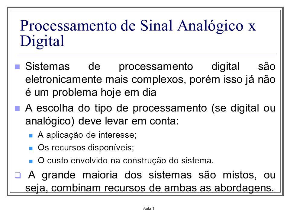 Aula 1 Processamento de Sinal Analógico x Digital Sistemas de processamento digital são eletronicamente mais complexos, porém isso já não é um problem