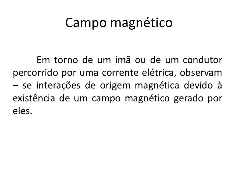 Campo magnético Em torno de um ímã ou de um condutor percorrido por uma corrente elétrica, observam – se interações de origem magnética devido à exist