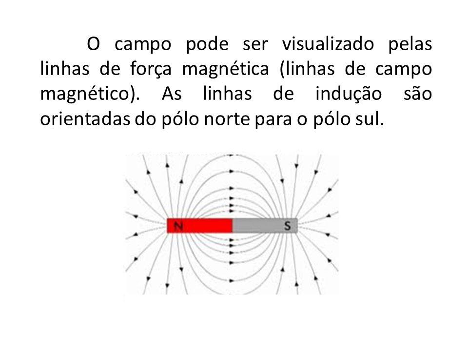 O campo pode ser visualizado pelas linhas de força magnética (linhas de campo magnético). As linhas de indução são orientadas do pólo norte para o pól