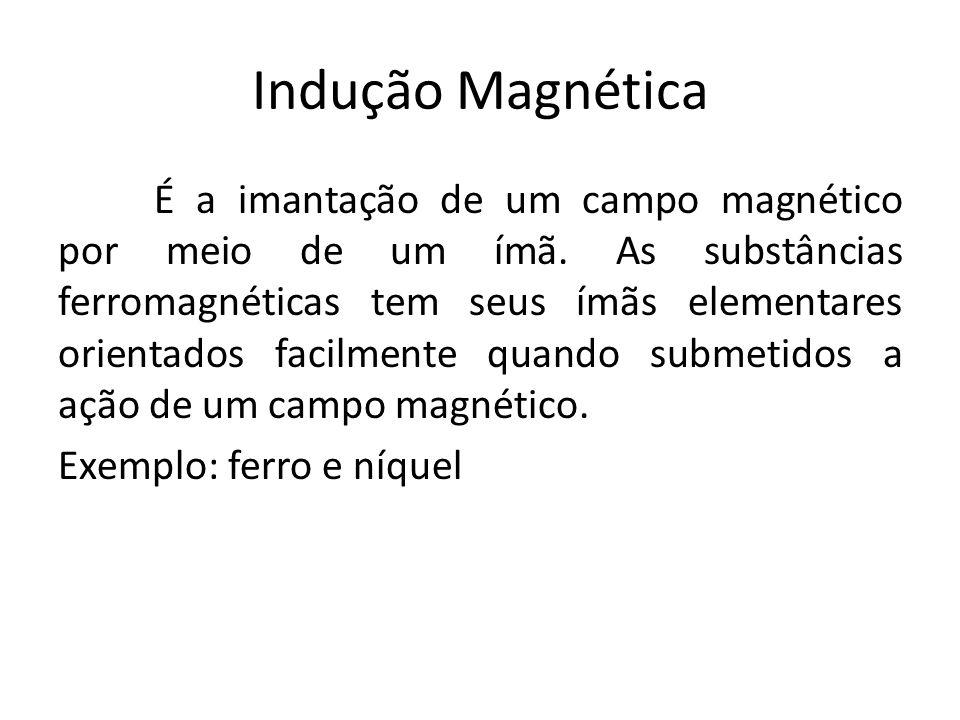 Indução Magnética É a imantação de um campo magnético por meio de um ímã. As substâncias ferromagnéticas tem seus ímãs elementares orientados facilmen