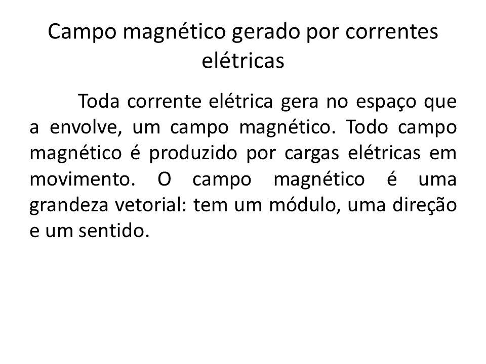 Campo magnético gerado por correntes elétricas Toda corrente elétrica gera no espaço que a envolve, um campo magnético. Todo campo magnético é produzi