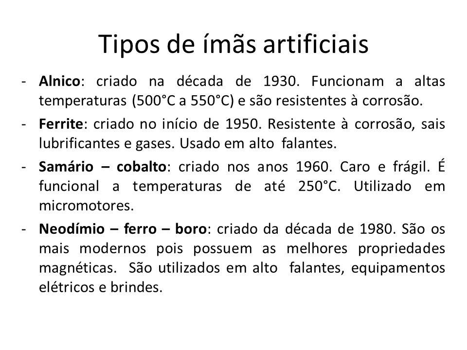 Tipos de ímãs artificiais -Alnico: criado na década de 1930. Funcionam a altas temperaturas (500°C a 550°C) e são resistentes à corrosão. -Ferrite: cr