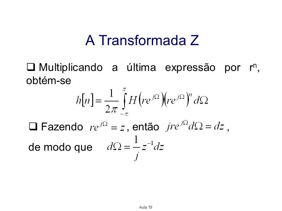 Aula 19 A Transformada Z Multiplicando a última expressão por r n, obtém-se Fazendo, então, de modo que