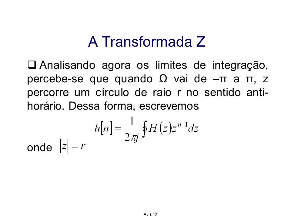 Aula 19 A Transformada Z Analisando agora os limites de integração, percebe-se que quando vai de –π a π, z percorre um círculo de raio r no sentido an