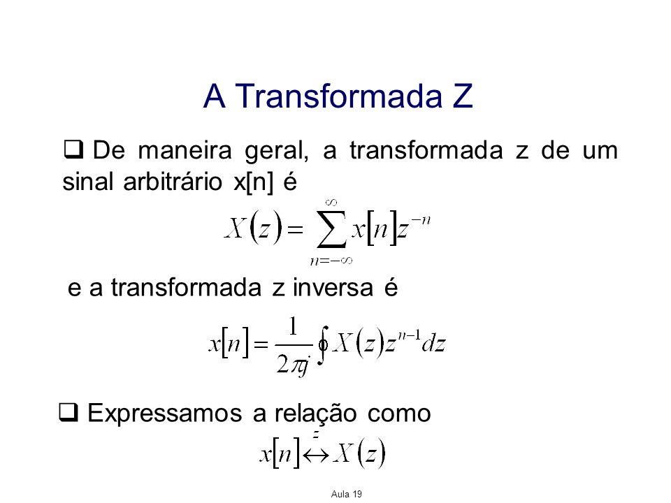 Aula 19 A Transformada Z De maneira geral, a transformada z de um sinal arbitrário x[n] é e a transformada z inversa é Expressamos a relação como