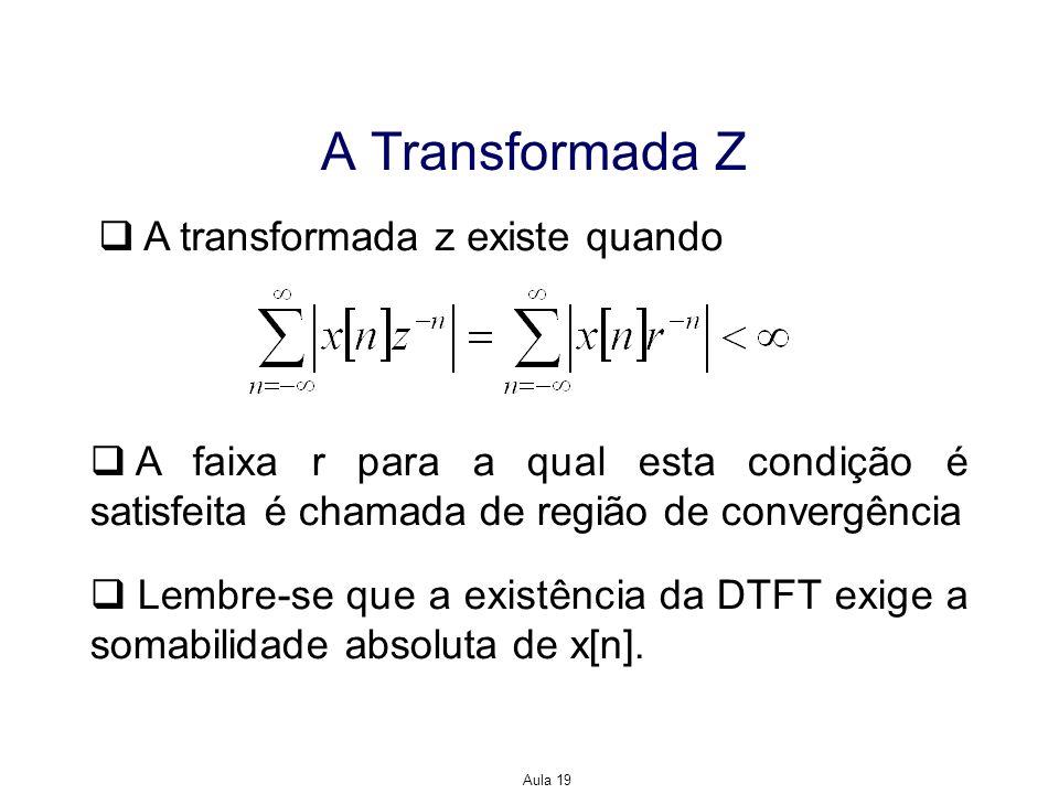 Aula 19 A Transformada Z A transformada z existe quando A faixa r para a qual esta condição é satisfeita é chamada de região de convergência Lembre-se