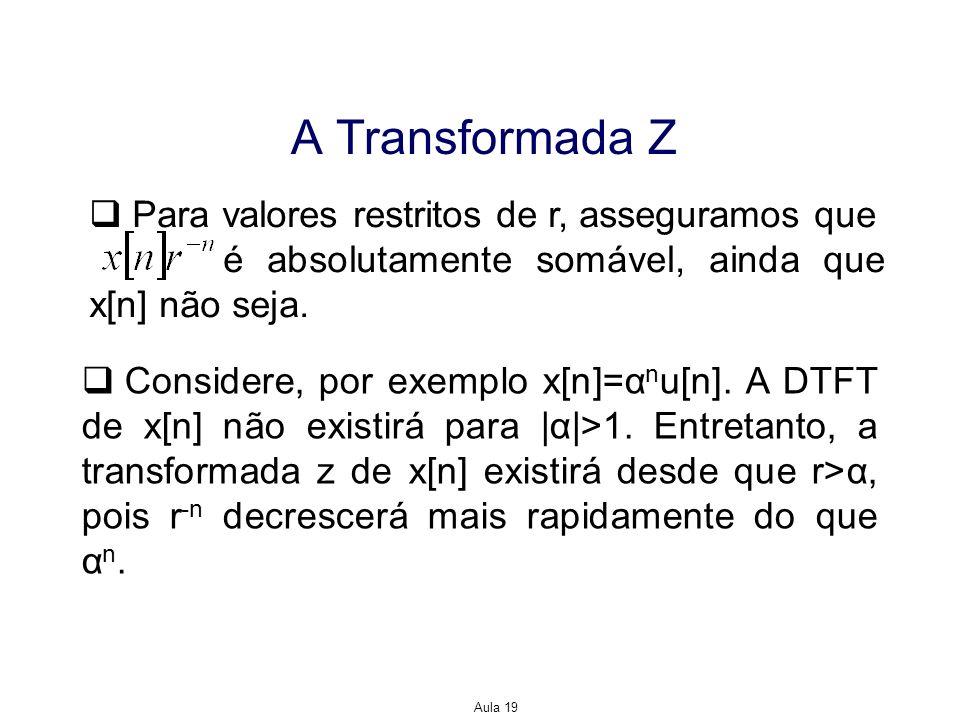 Aula 19 A Transformada Z Para valores restritos de r, asseguramos que é absolutamente somável, ainda que x[n] não seja. Considere, por exemplo x[n]=α