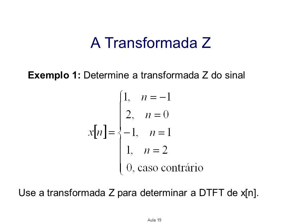 Aula 19 A Transformada Z Exemplo 1: Determine a transformada Z do sinal Use a transformada Z para determinar a DTFT de x[n].