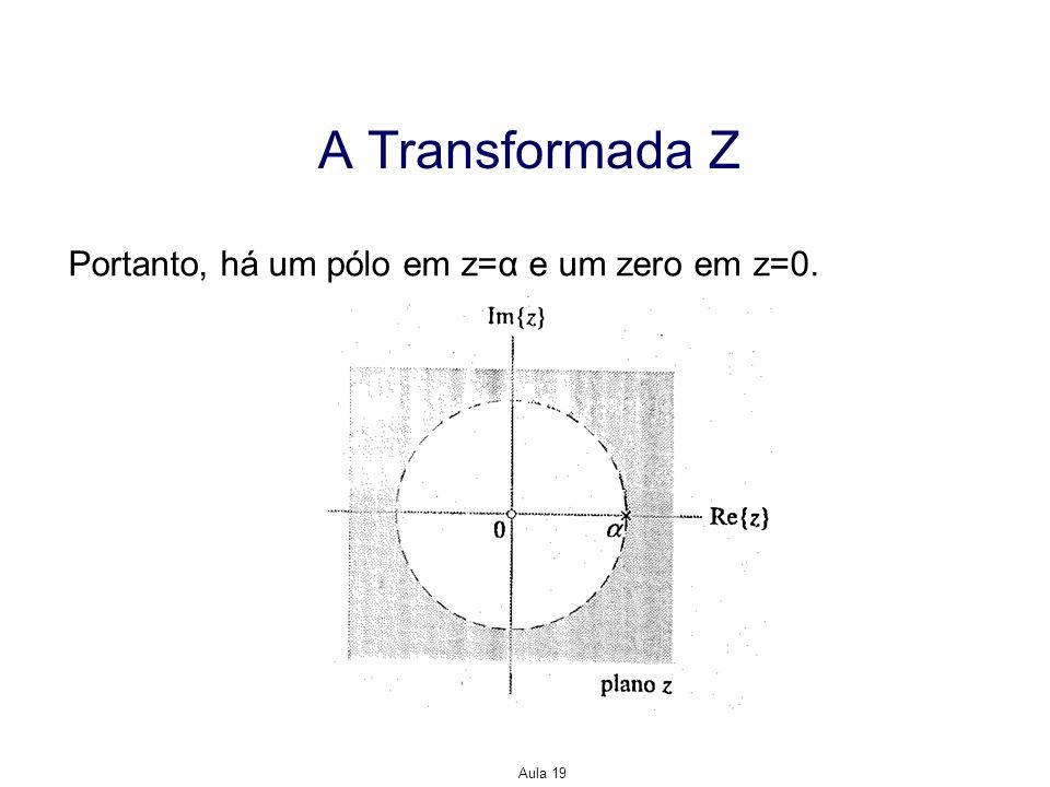 Aula 19 A Transformada Z Portanto, há um pólo em z=α e um zero em z=0.