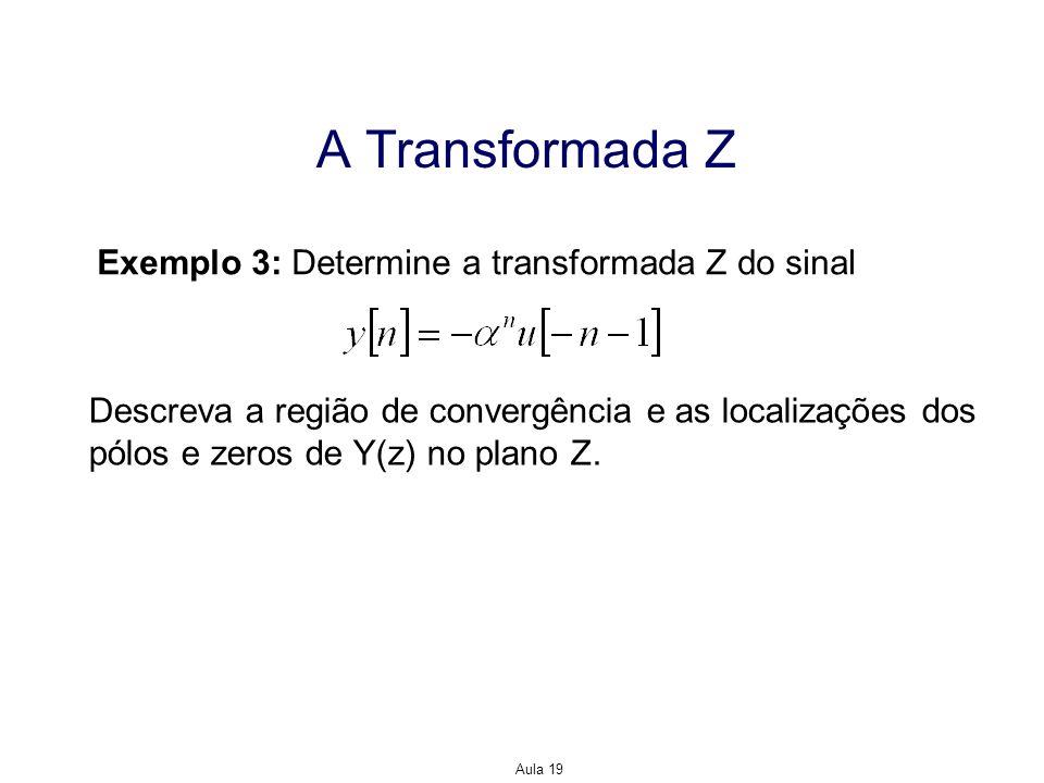 Aula 19 A Transformada Z Exemplo 3: Determine a transformada Z do sinal Descreva a região de convergência e as localizações dos pólos e zeros de Y(z)