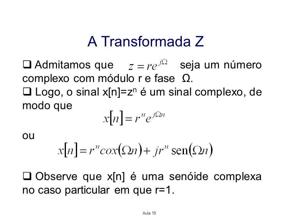 Aula 19 A Transformada Z Admitamos que seja um número complexo com módulo r e fase. Logo, o sinal x[n]=z n é um sinal complexo, de modo que ou Observe