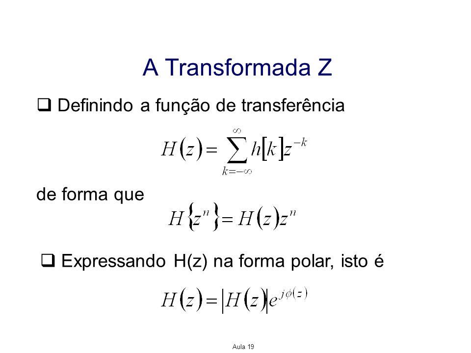 Aula 19 A Transformada Z Definindo a função de transferência de forma que Expressando H(z) na forma polar, isto é