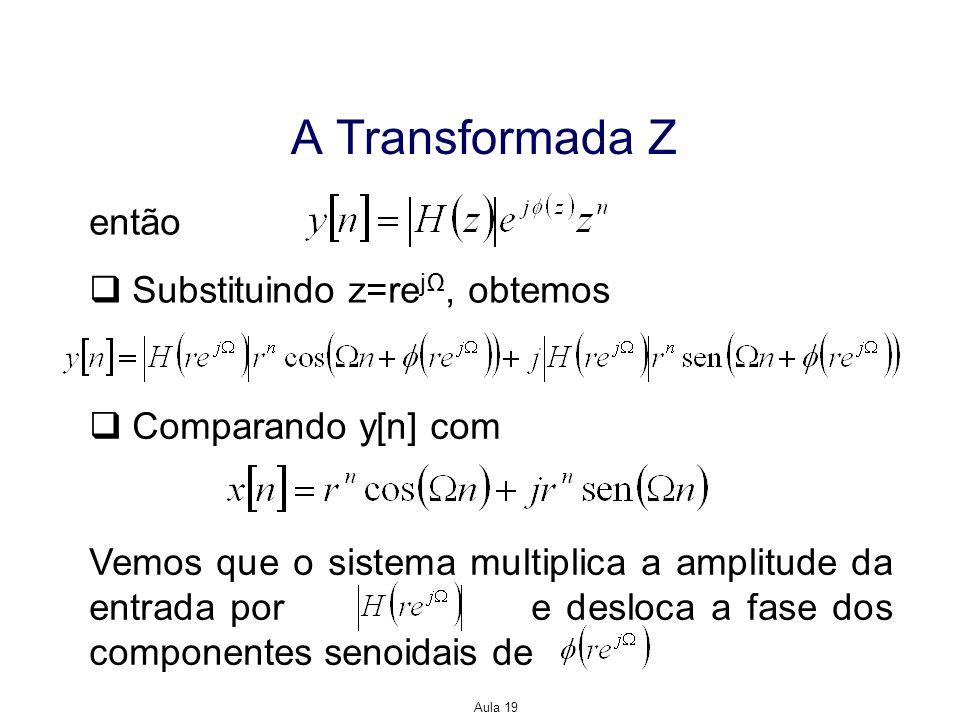 Aula 19 A Transformada Z então Substituindo z=re j, obtemos Comparando y[n] com Vemos que o sistema multiplica a amplitude da entrada por e desloca a