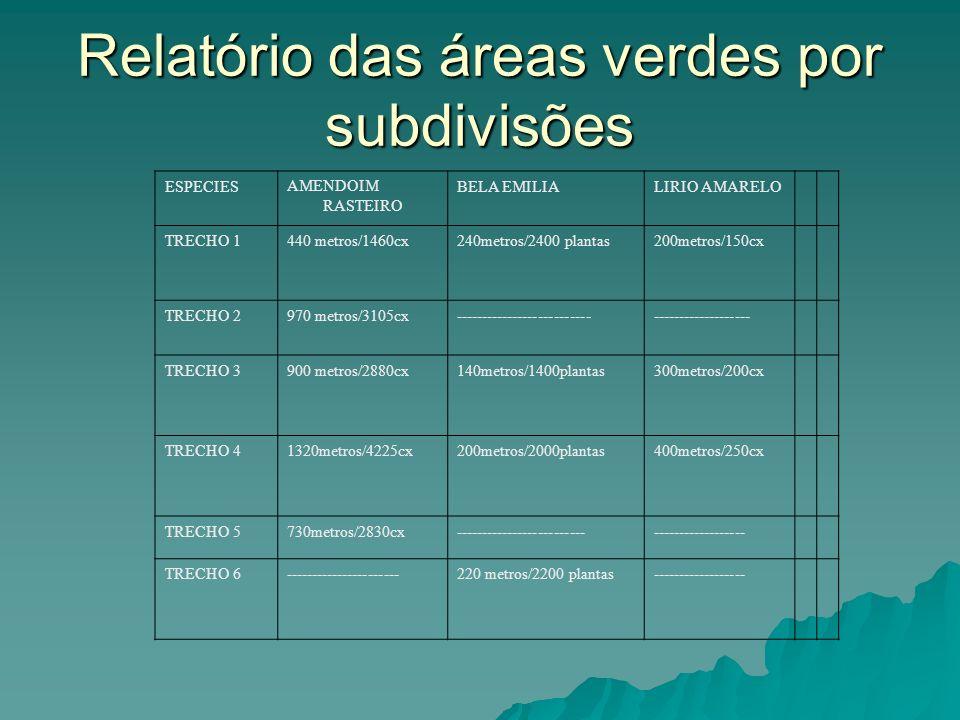Relatório das áreas verdes por subdivisões ESPECIESAMENDOIM RASTEIRO BELA EMILIALIRIO AMARELO TRECHO 1440 metros/1460cx240metros/2400 plantas200metros