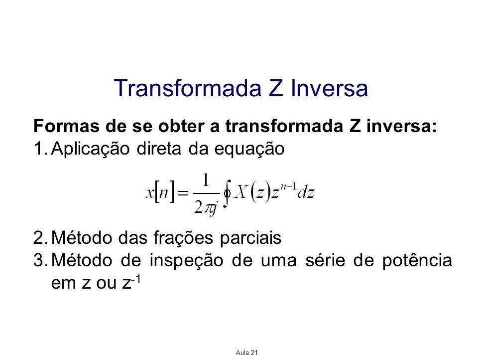 Aula 21 Transformada Z Inversa Formas de se obter a transformada Z inversa: 1.Aplicação direta da equação 2.Método das frações parciais 3.Método de inspeção de uma série de potência em z ou z -1