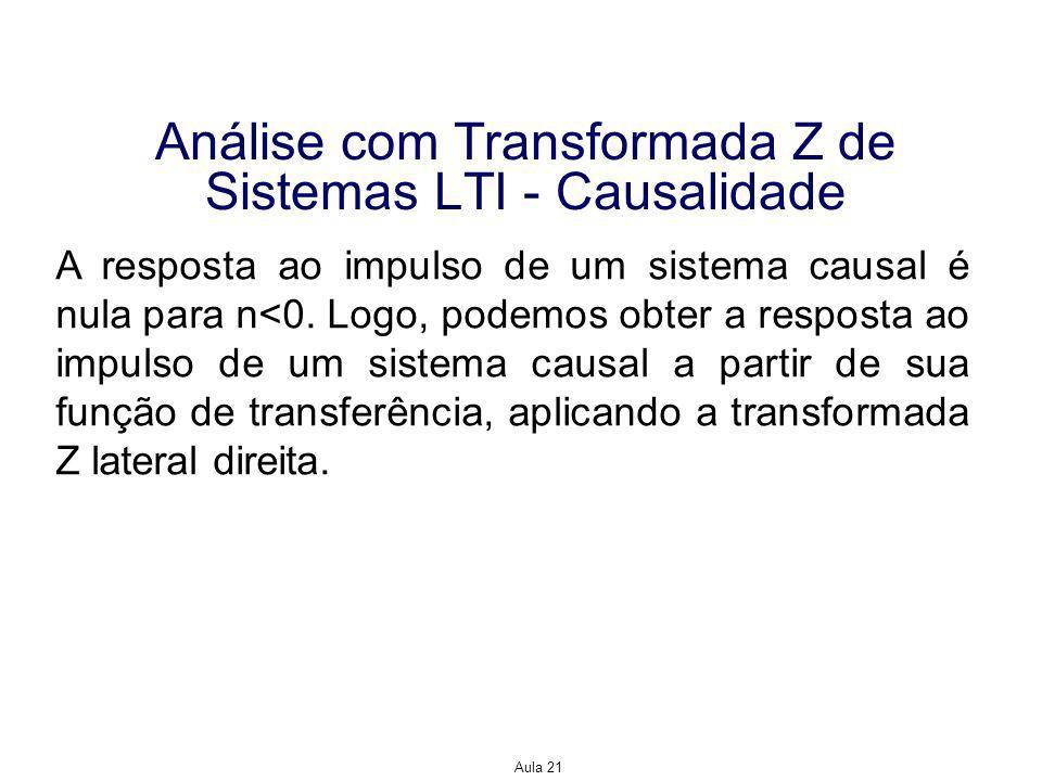 Aula 21 Análise com Transformada Z de Sistemas LTI - Causalidade A resposta ao impulso de um sistema causal é nula para n<0.