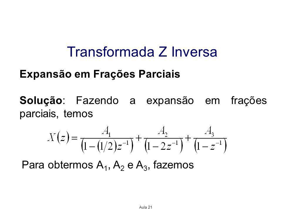 Aula 21 Transformada Z Inversa Expansão em Frações Parciais