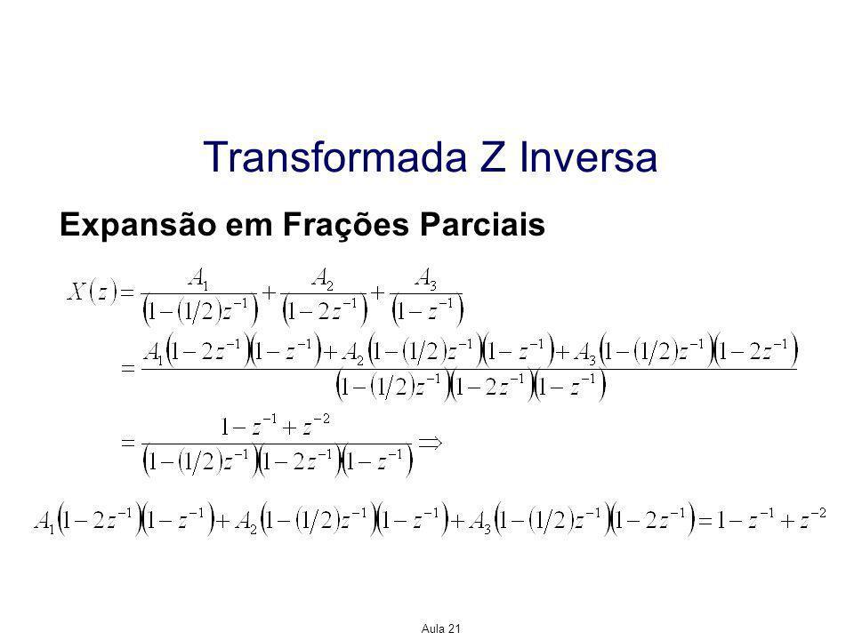 Aula 21 Transformada Z Inversa Fazendo z=1/2, temos Fazendo z=2, temos Fazendo z=1, temos Expansão em Frações Parciais Daí,