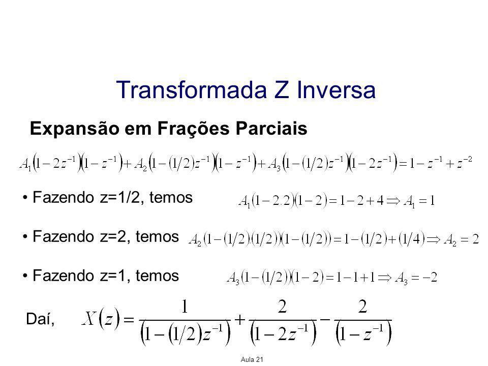 Aula 21 Transformada Z Inversa Expansão em Série de Potências Uma vantagem da expansão em série de potências é a capacidade de se encontrar transformas Z inversas para sinais que não são uma razão de polinômios em z, como veremos no exemplo a seguir.