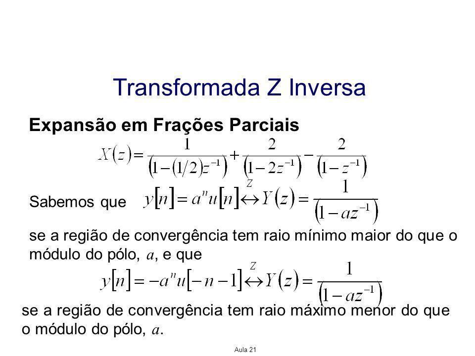 Aula 21 Transformada Z Inversa Expansão em Frações Parciais Sabemos que se a região de convergência tem raio mínimo maior do que o módulo do pólo, a, e que se a região de convergência tem raio máximo menor do que o módulo do pólo, a.