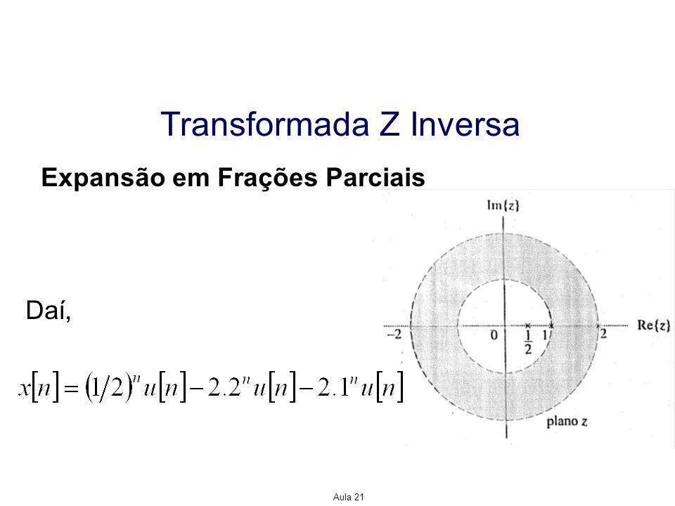 Aula 21 Transformada Z Inversa Expansão em Série de Potências Solução: Usando a representação em série de potências para e a, isto é de modo que Assim, temos que