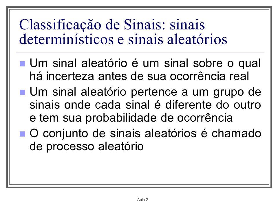 Aula 2 Classificação de Sinais: sinais determinísticos e sinais aleatórios Um sinal aleatório é um sinal sobre o qual há incerteza antes de sua ocorrê