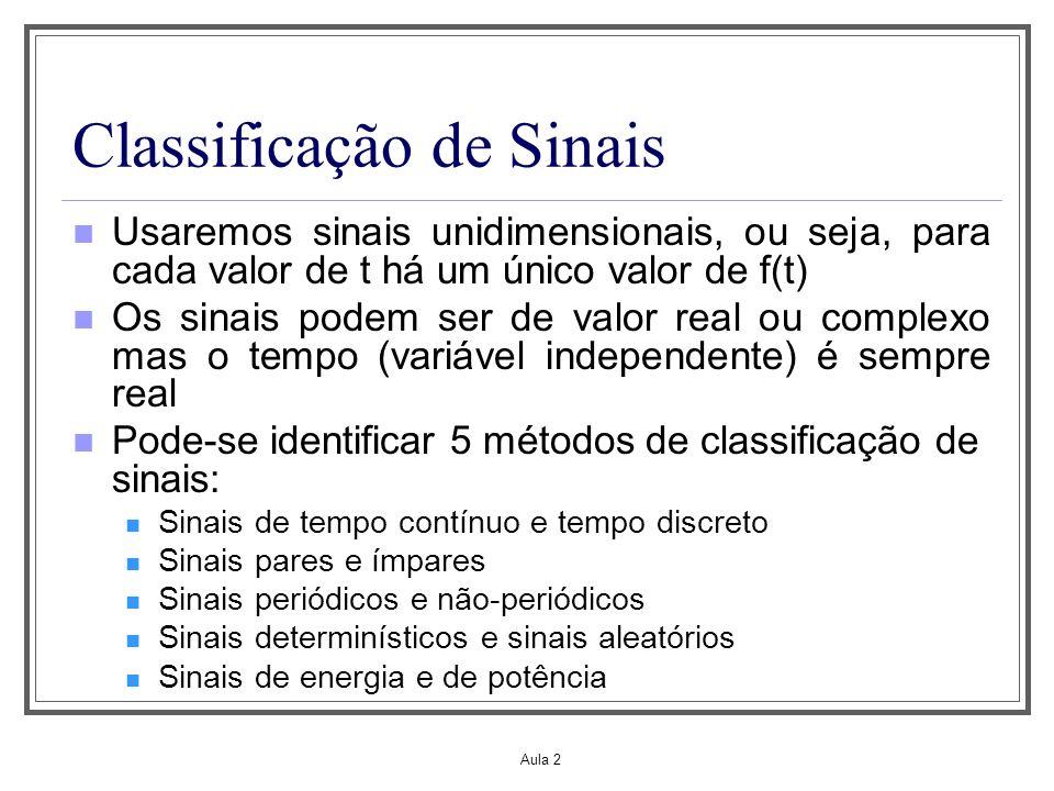 Aula 2 Classificação de Sinais: sinais de tempo contínuo e de tempo discreto Um sinal x(t) é um sinal de tempo contínuo se ele for definido para todo tempo t