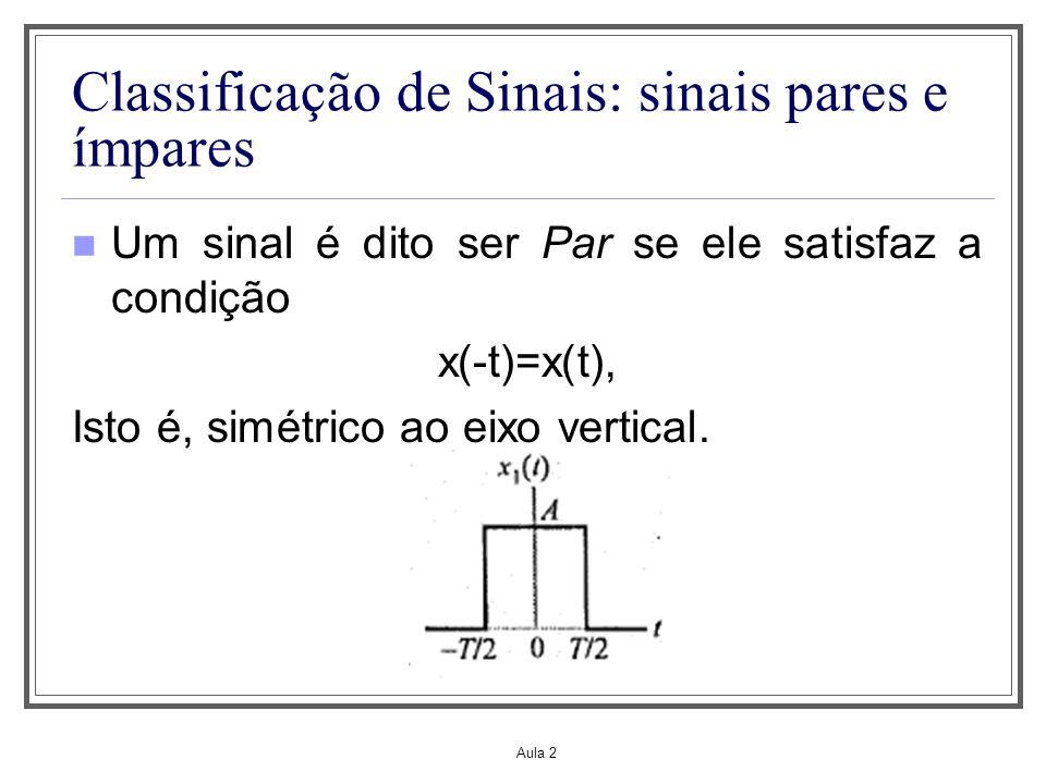 Aula 2 Classificação de Sinais: sinais pares e ímpares Um sinal é dito ser Ímpar se ele satisfaz a condição x(-t)=-x(t), Isto é, antissimétrico ao eixo do tempo.